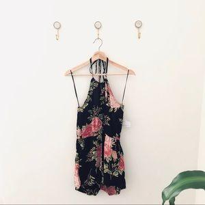 ANGIE black pink floral romper shorts medium